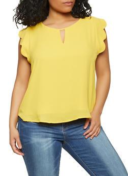 Plus Size Scalloped Cap Sleeve Blouse - 1925069399011