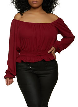 Plus Size Smocked Ruffle Off the Shoulder Top - 1925069399065