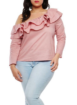 Plus Size One Shoulder Ruffle Top - 1925069399165