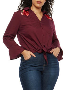 Plus Size Button Front Top with Floral Patches - 1925069399198