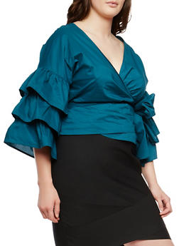 Plus Size Tiered Sleeve Wrap Top - 1925069399318