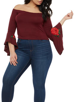 Plus Size Rose Patch Cropped Off the Shoulder Top - 1925069399363