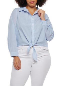 Plus Size Striped Tie Button Front Shirt - 1925069399380