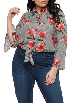 Plus Size Floral Striped Tie Front Top - 1925069399467