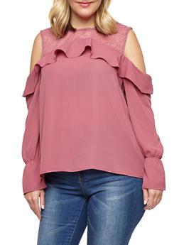 Plus Size Lace Yoke Ruffled Cold Shoulder Top - 1925069399557
