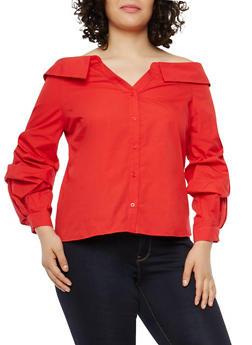 Plus Size Off the Shoulder Button Front Top - 1925069399563