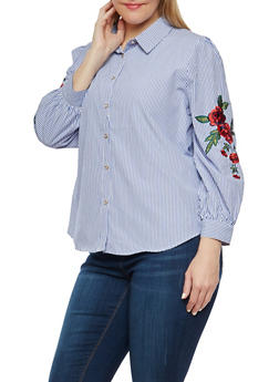 Plus Size Stripe Embroidered Button Front Shirt - 1925069399638