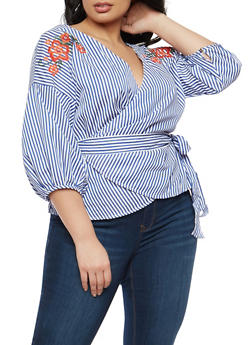 Plus Size Striped Embroidered Wrap Top - 1925069399643