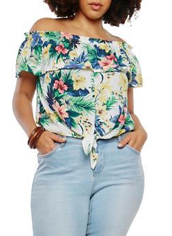Plus Size Floral Off the Shoulder Top - 1925069399666