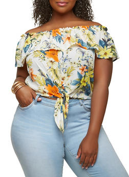 Plus Size Floral Off the Shoulder Top - 1925069399666