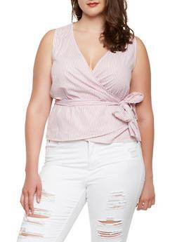 Plus Size Striped Sleeveless Wrap Top - 1925069399694