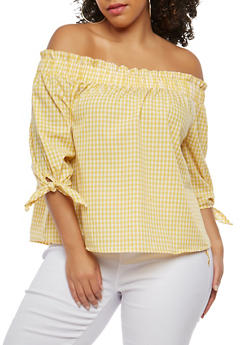 Plus Size Gingham Off the Shoulder Top - 1925069399746