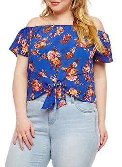 Plus Size Floral Tie Front Off the Shoulder Top - 1925069399767