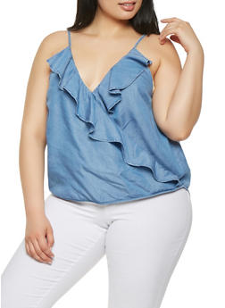 Plus Size Chambray Faux Wrap Top - 1925069399803