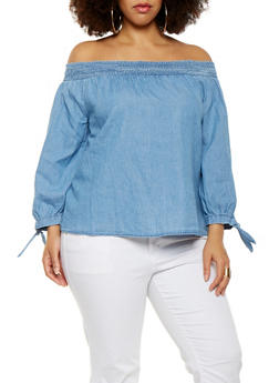 Plus Size Chambray Off the Shoulder Top - 1925069399876
