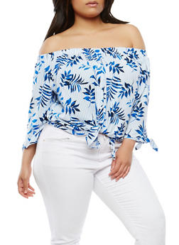 Plus Size Off the Shoulder Tie Front Top - 1925069399883