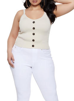 Plus Size Rib Knit Faux Button Tank Top - 1926015991511