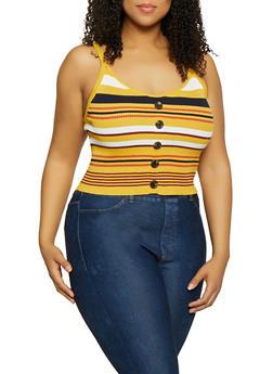 Plus Size Rib Knit Button Front Tank Top - 1926015991512