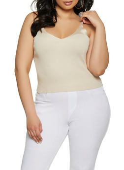 Plus Size Ribbed Cropped Cami - 1926015991781