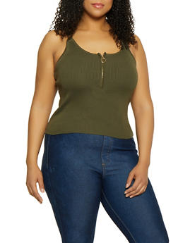 Plus Size Zip Front Rib Knit Cami - 1926015999522