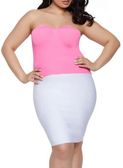 Plus Size Sweetheart Neck Tube Top - 1926015999810