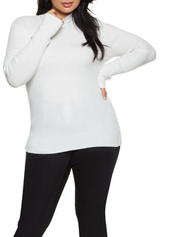 Plus Size Ribbed Knit Mock Neck Sweater - 1926054211937