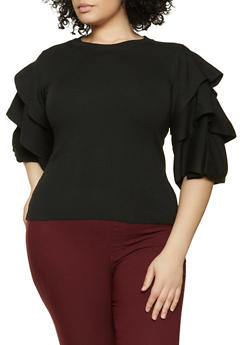 Plus Size Tiered Sleeve Sweater - 1926062702771