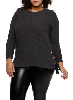 Plus Size Lace Up Side Top - 1926069399183