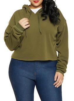 Plus Size Fleece Lined Raw Cut Sweatshirt - 1926072290001