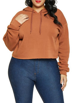 Plus Size Fleece Lined Raw Cut Sweatshirt - 1926072290001
