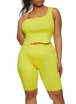 Plus Size Ribbed Tank Top and Bike Shorts Set - 1927015992222