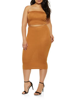 Plus Size Solid Tube Top with Pencil Skirt - 1927015993550