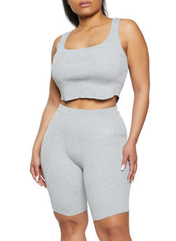 Plus Size Cropped Tank Top and Bike Shorts Set - 1927015994242