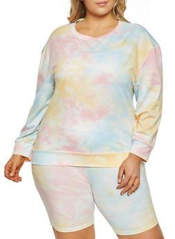 Plus Size Tie Dye Pattern Sweatshirt - 1927056575247