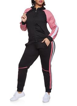 Plus Size Color Block Fleece Sweatshirt and Joggers Set - 1927062709319