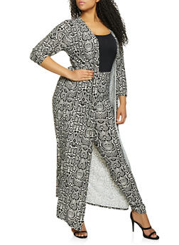 Plus Size Animal Print Duster and Leggings Set - 1927062709805