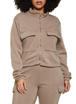 Plus Size Cargo Track Jacket - 1927063400202