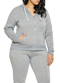 Plus Size Zip Front Sweatshirt - 1927063400207