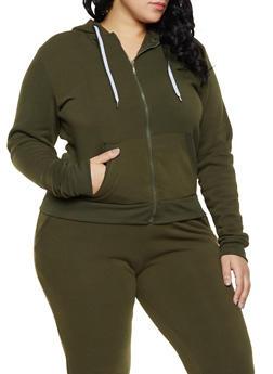 Plus Size Zip Front Sweatshirt - 1927063400207