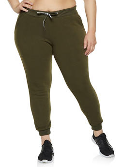 Plus Size Solid Sweatpants - 1927063400208