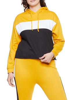 Plus Size Color Block Hooded Sweatshirt - 1927063401125