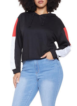 Plus Size Color Block Hooded Sweatshirt - 1927063401127