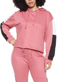 Plus Size Color Block Hooded Sweatshirt - 1927063401127