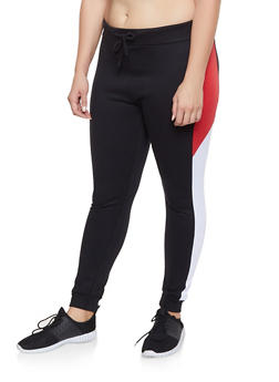 Plus Size Color Block Sweatpants - 1927063401128