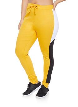 Plus Size Color Block Sweatpants - 1927063401128