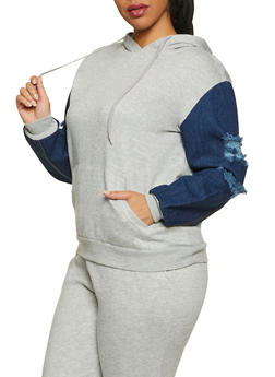 Plus Size Denim Sleeve Sweatshirt - 1927063401396