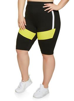 Plus Size Color Block Bike Shorts - 1927063401989