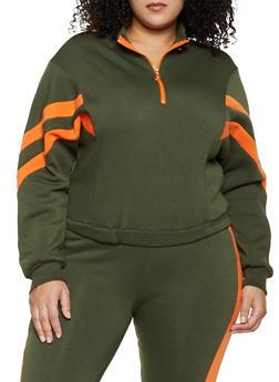 Plus Size Half Zip Sweatshirt - 1927063403030