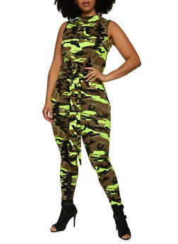 Plus Size Neon Camo Top and Leggings Set - 1927063404112