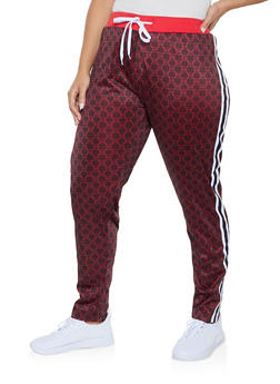 Plus Size Side Stripe Love Graphic Track Pants - 1927063408167